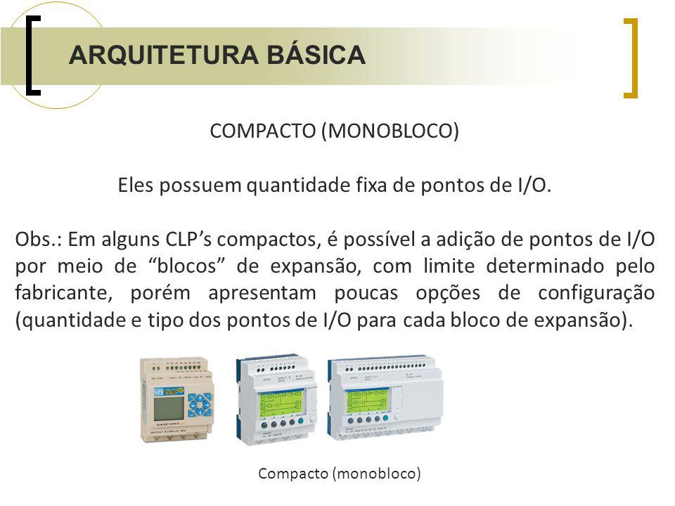 COMPACTO (MONOBLOCO) Eles possuem quantidade fixa de pontos de I/O. Obs.: Em alguns CLPs compactos, é possível a adição de pontos de I/O por meio de b