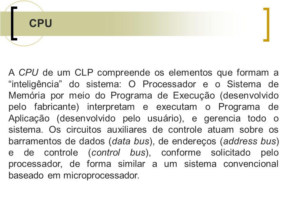 CPU A CPU de um CLP compreende os elementos que formam a inteligência do sistema: O Processador e o Sistema de Memória por meio do Programa de Execuçã