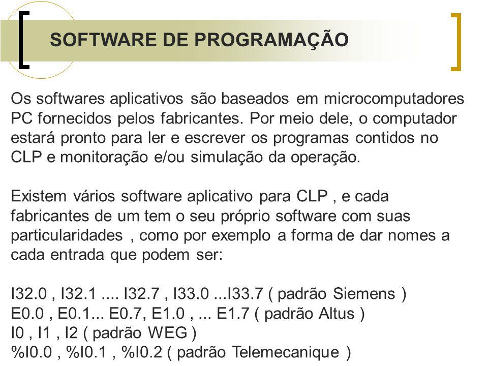 SOFTWARE DE PROGRAMAÇÃO Os softwares aplicativos são baseados em microcomputadores PC fornecidos pelos fabricantes. Por meio dele, o computador estará
