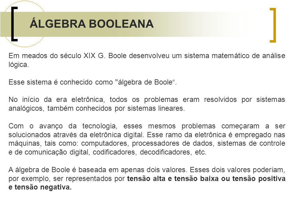 Em meados do século XIX G. Boole desenvolveu um sistema matemático de análise lógica. Esse sistema é conhecido como