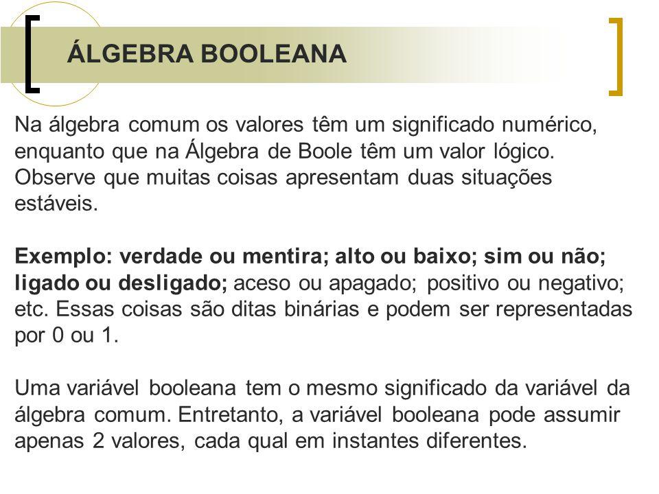 Na álgebra comum os valores têm um significado numérico, enquanto que na Álgebra de Boole têm um valor lógico. Observe que muitas coisas apresentam du