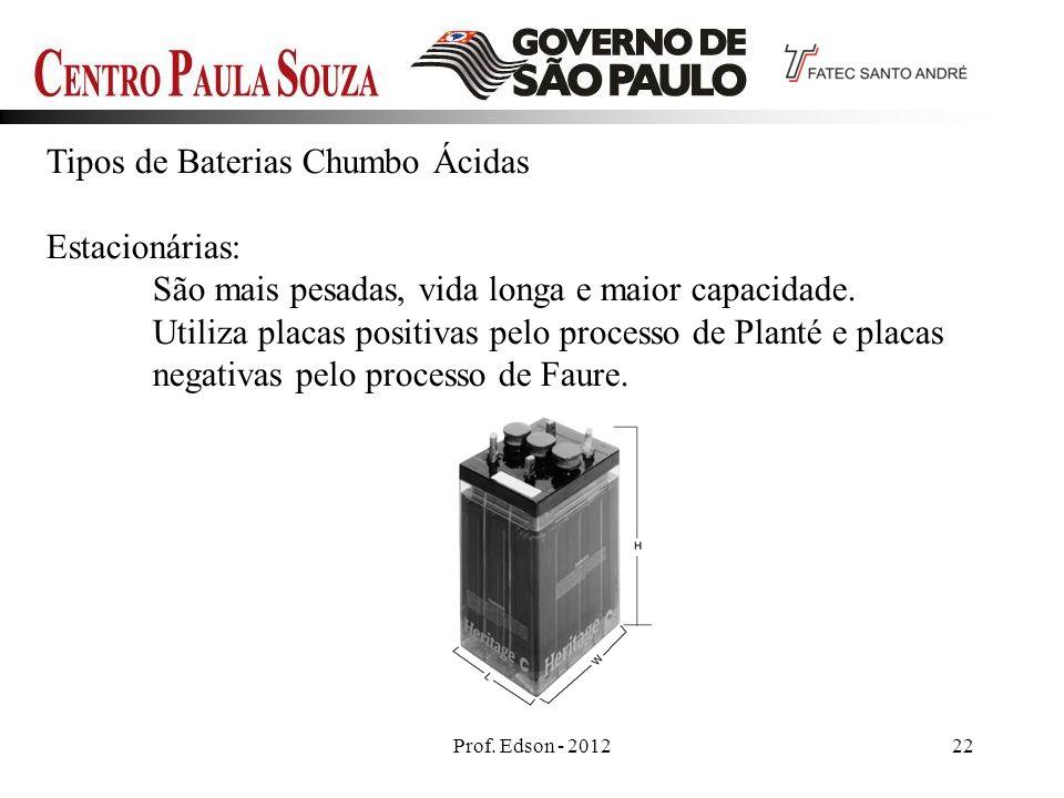 Prof. Edson - 201222 Tipos de Baterias Chumbo Ácidas Estacionárias: São mais pesadas, vida longa e maior capacidade. Utiliza placas positivas pelo pro