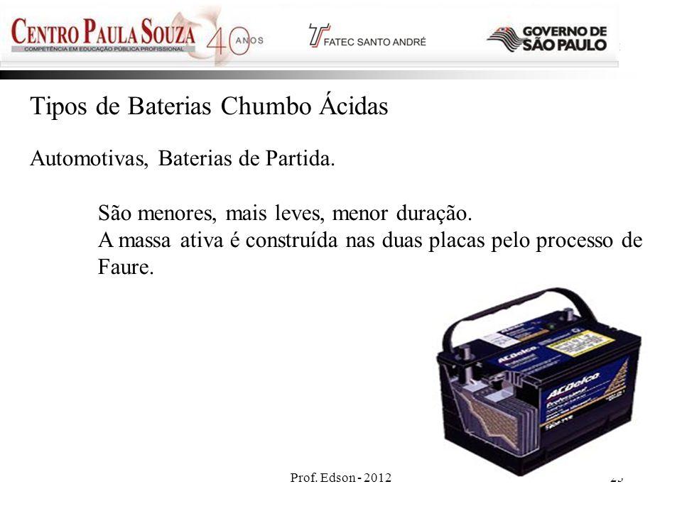 Prof. Edson - 201223 Tipos de Baterias Chumbo Ácidas Automotivas, Baterias de Partida. São menores, mais leves, menor duração. A massa ativa é constru
