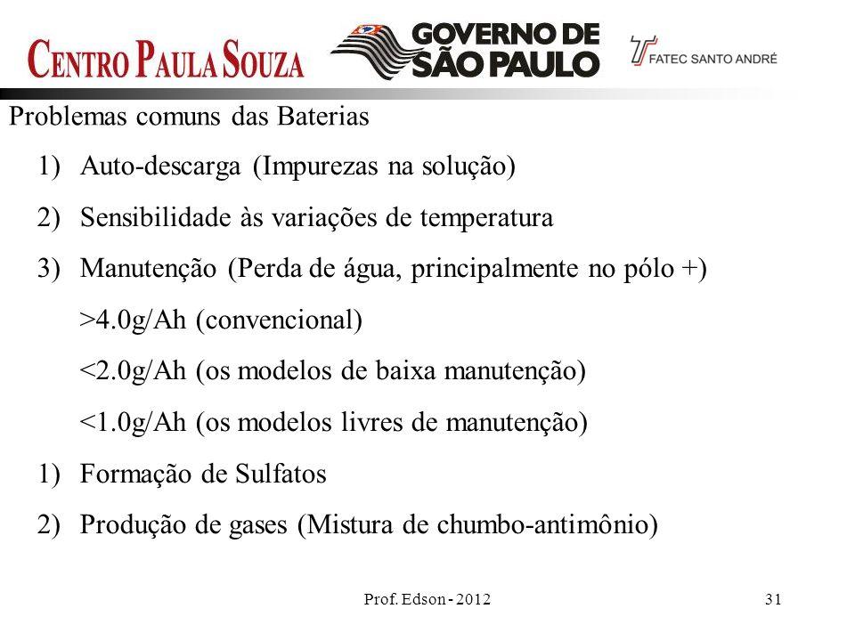 Prof. Edson - 201231 Problemas comuns das Baterias 1)Auto-descarga (Impurezas na solução) 2)Sensibilidade às variações de temperatura 3)Manutenção (Pe