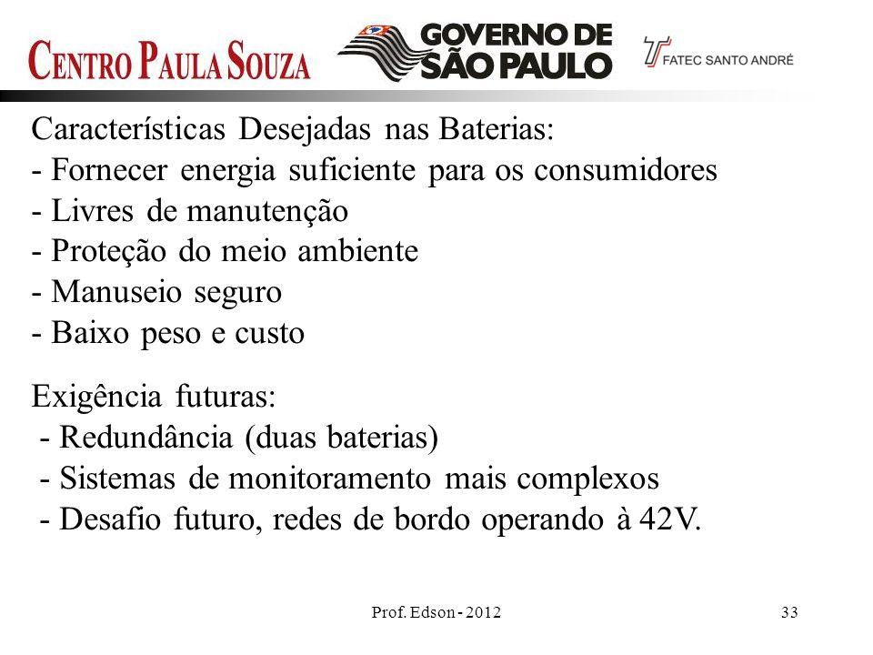 Prof. Edson - 201233 Características Desejadas nas Baterias: - Fornecer energia suficiente para os consumidores - Livres de manutenção - Proteção do m