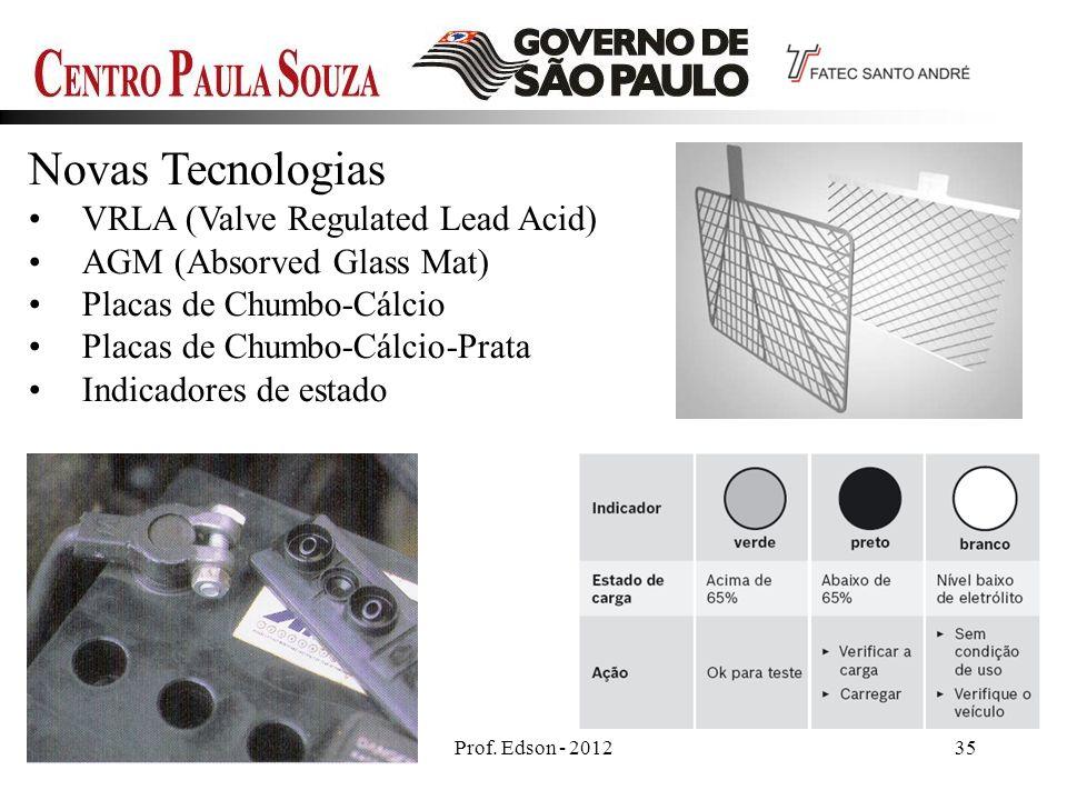 Prof. Edson - 201235 Novas Tecnologias VRLA (Valve Regulated Lead Acid) AGM (Absorved Glass Mat) Placas de Chumbo-Cálcio Placas de Chumbo-Cálcio-Prata
