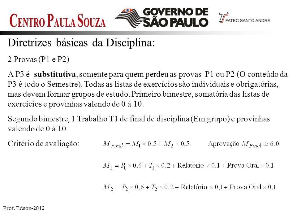 Prof. Edson-2012 Diretrizes básicas da Disciplina: 2 Provas (P1 e P2) A P3 é substitutiva, somente para quem perdeu as provas P1 ou P2 (O conteúdo da