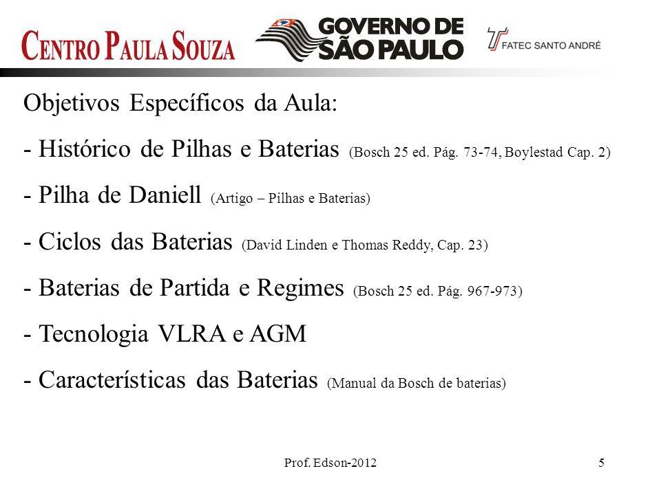 Prof. Edson-20125 Objetivos Específicos da Aula: - Histórico de Pilhas e Baterias (Bosch 25 ed. Pág. 73-74, Boylestad Cap. 2) - Pilha de Daniell (Arti