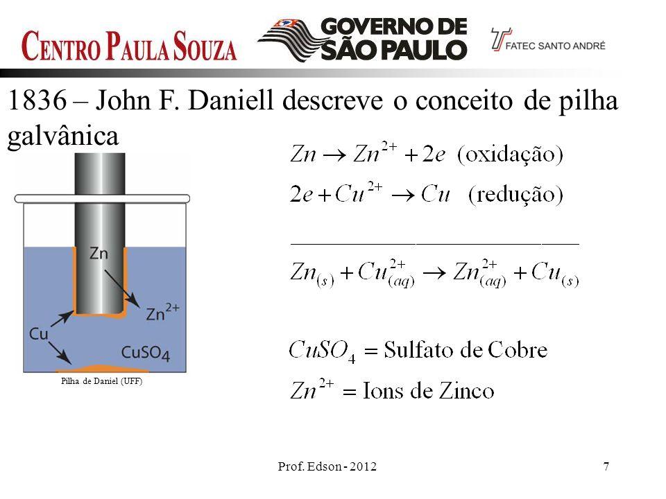Prof. Edson - 20127 1836 – John F. Daniell descreve o conceito de pilha galvânica Pilha de Daniel (UFF)
