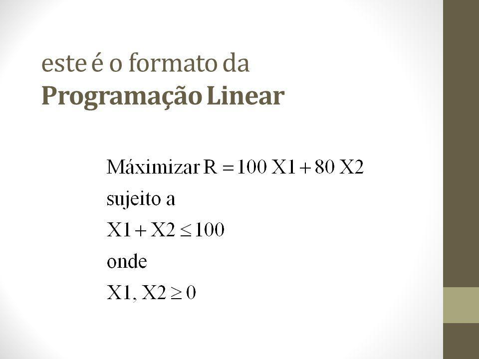 este é o formato da Programação Linear