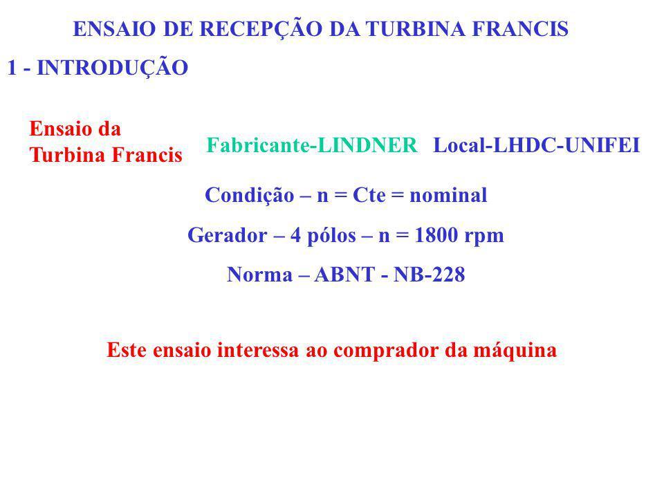 ENSAIO DE RECEPÇÃO DA TURBINA FRANCIS 1 - INTRODUÇÃO Ensaio da Turbina Francis Fabricante-LINDNERLocal-LHDC-UNIFEI Condição – n = Cte = nominal Gerado