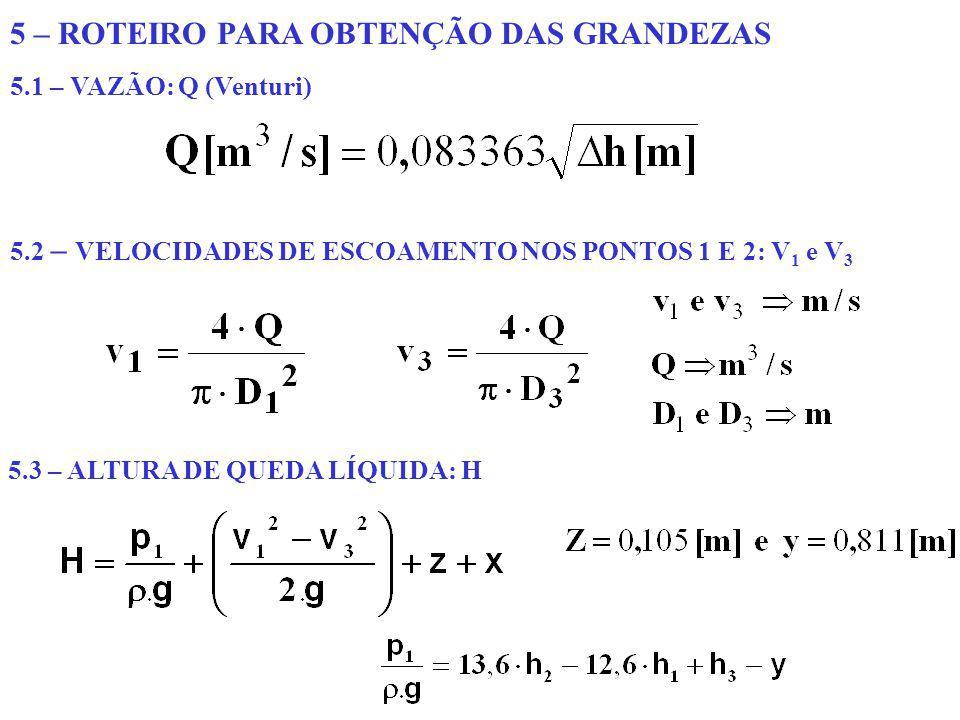 5 – ROTEIRO PARA OBTENÇÃO DAS GRANDEZAS 5.1 – VAZÃO: Q (Venturi) 5.2 – VELOCIDADES DE ESCOAMENTO NOS PONTOS 1 E 2: V 1 e V 3 5.3 – ALTURA DE QUEDA LÍQ
