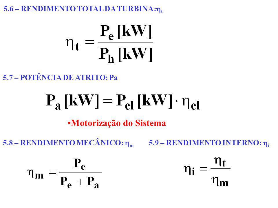 5.6 – RENDIMENTO TOTAL DA TURBINA: t 5.7 – POTÊNCIA DE ATRITO: Pa Motorização do Sistema 5.8 – RENDIMENTO MECÂNICO: m 5.9 – RENDIMENTO INTERNO: i