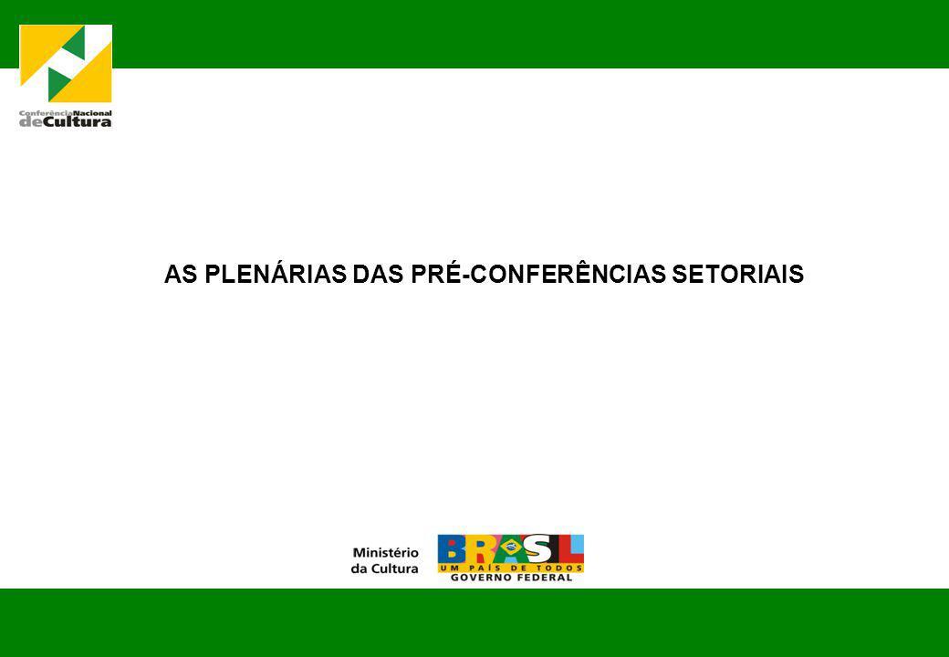 AS PLENÁRIAS DAS PRÉ-CONFERÊNCIAS SETORIAIS