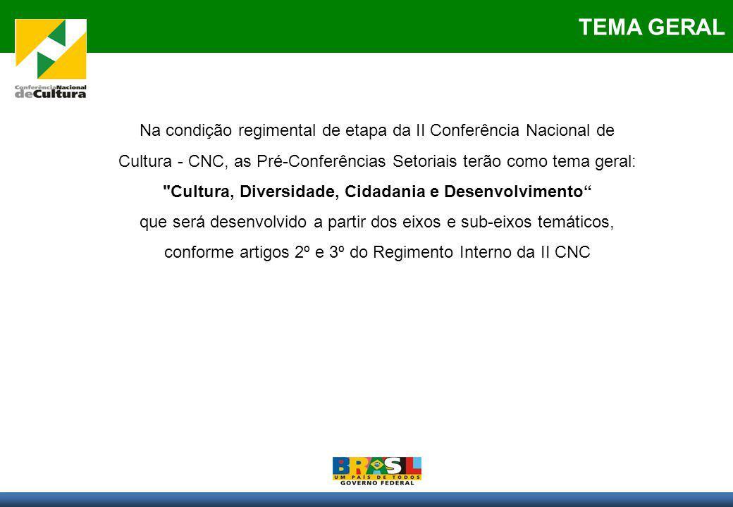Na condição regimental de etapa da II Conferência Nacional de Cultura - CNC, as Pré-Conferências Setoriais terão como tema geral:
