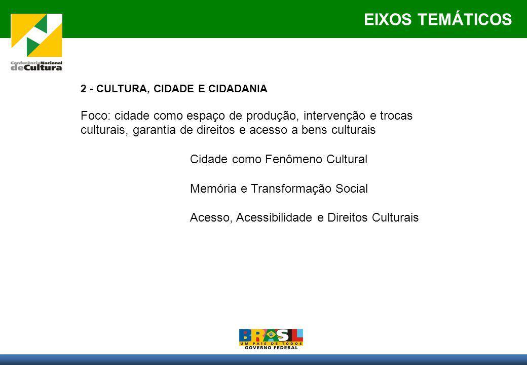 EIXOS TEMÁTICOS 2 - CULTURA, CIDADE E CIDADANIA Foco: cidade como espaço de produção, intervenção e trocas culturais, garantia de direitos e acesso a