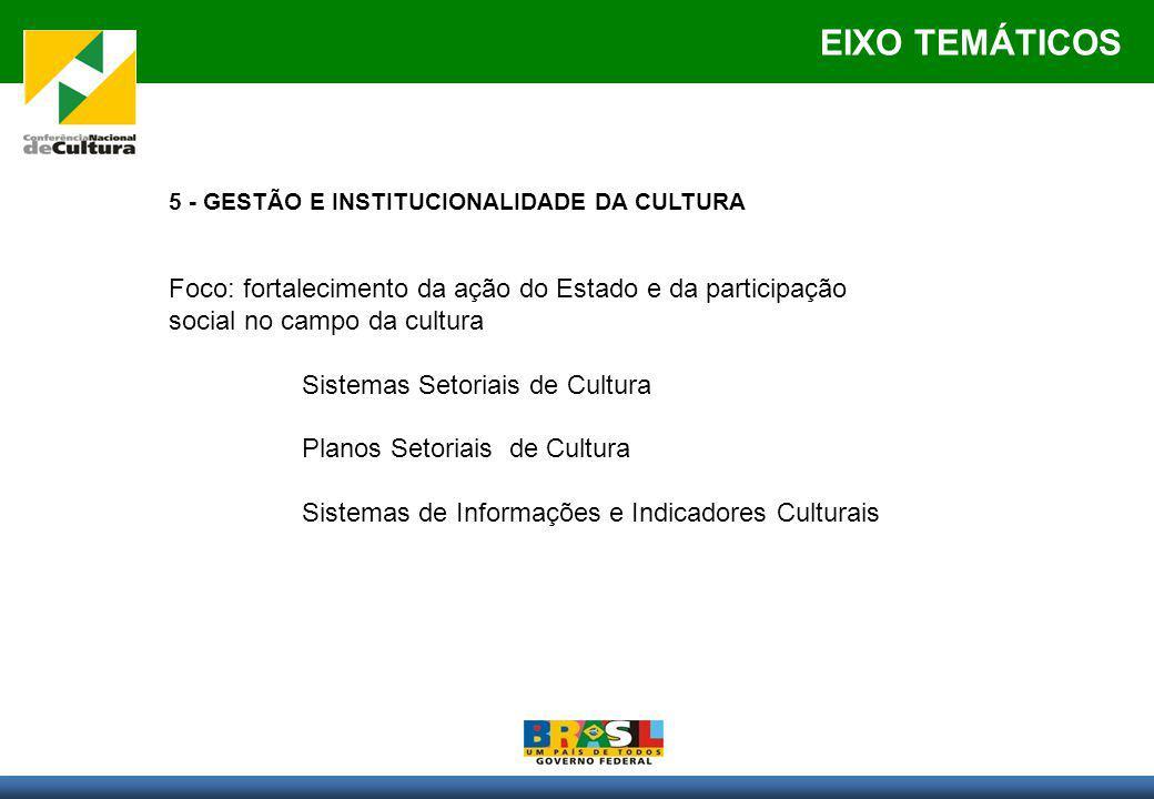 EIXO TEMÁTICOS 5 - GESTÃO E INSTITUCIONALIDADE DA CULTURA Foco: fortalecimento da ação do Estado e da participação social no campo da cultura Sistemas Setoriais de Cultura Planos Setoriais de Cultura Sistemas de Informações e Indicadores Culturais