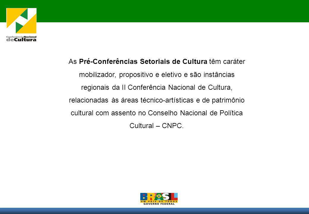 As Pré-Conferências Setoriais de Cultura têm caráter mobilizador, propositivo e eletivo e são instâncias regionais da II Conferência Nacional de Cultura, relacionadas às áreas técnico-artísticas e de patrimônio cultural com assento no Conselho Nacional de Política Cultural – CNPC.