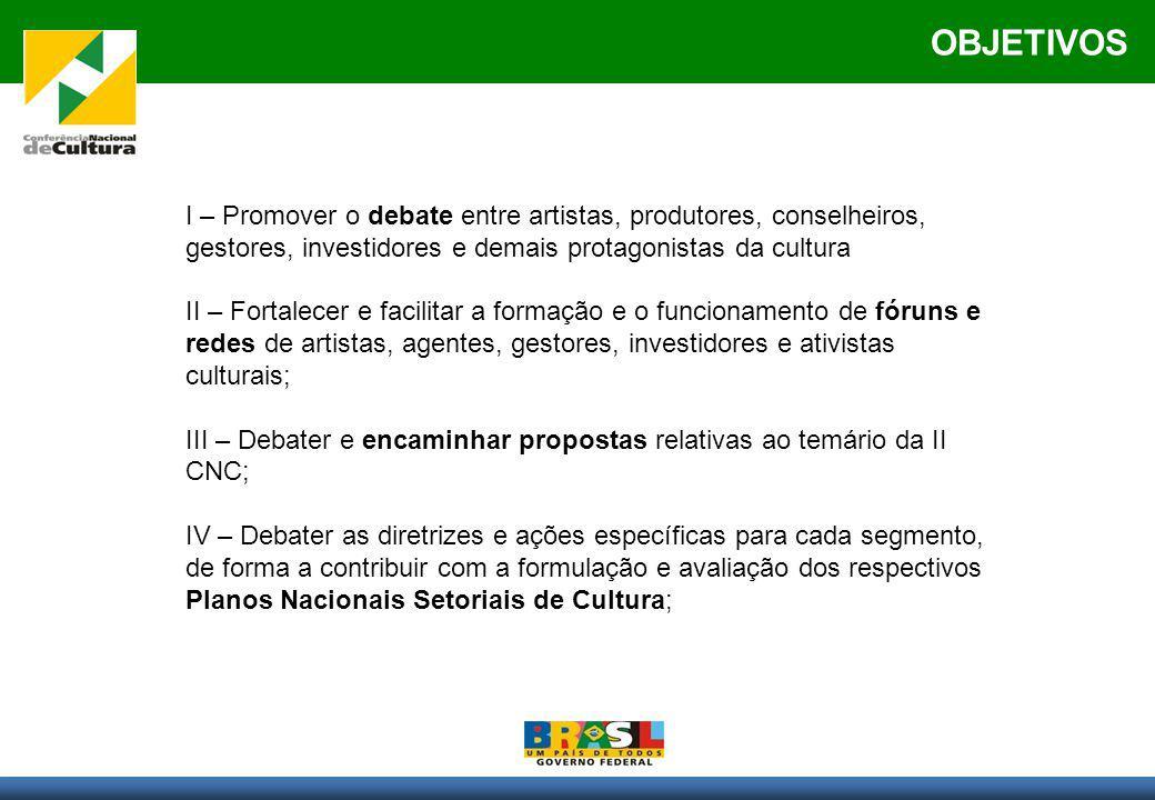 OBJETIVOS I – Promover o debate entre artistas, produtores, conselheiros, gestores, investidores e demais protagonistas da cultura II – Fortalecer e f