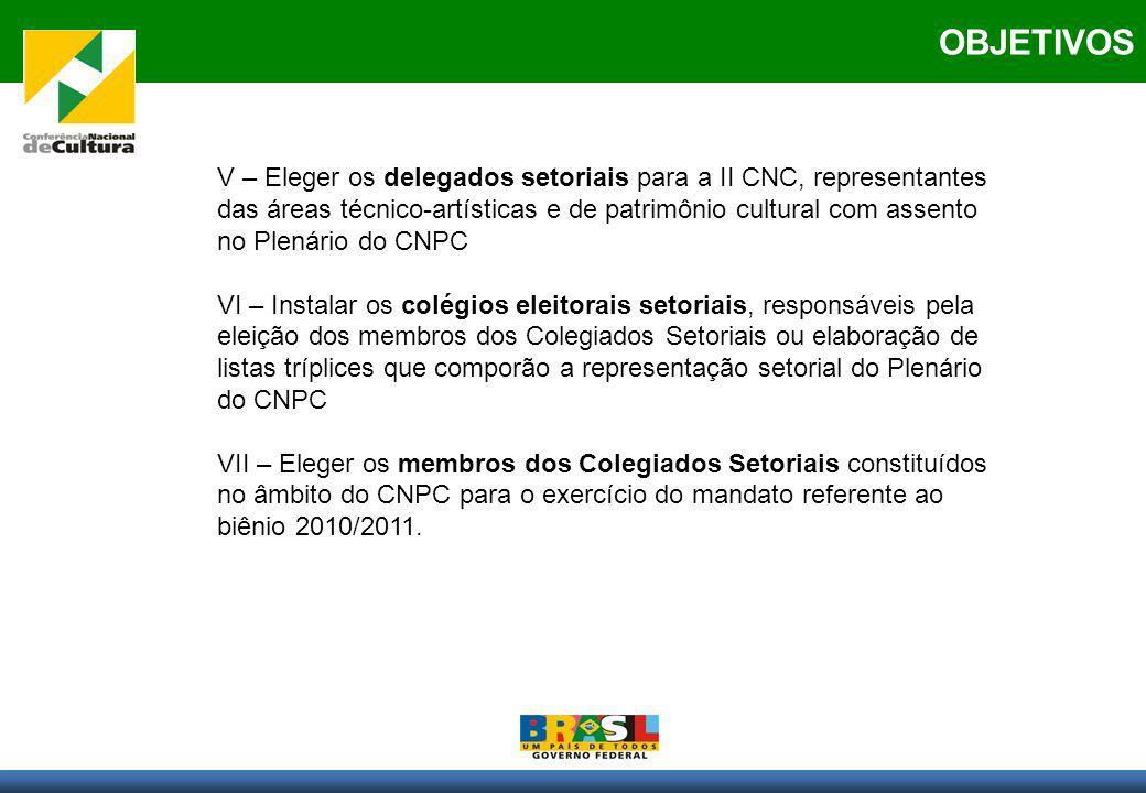 OBJETIVOS V – Eleger os delegados setoriais para a II CNC, representantes das áreas técnico-artísticas e de patrimônio cultural com assento no Plenári