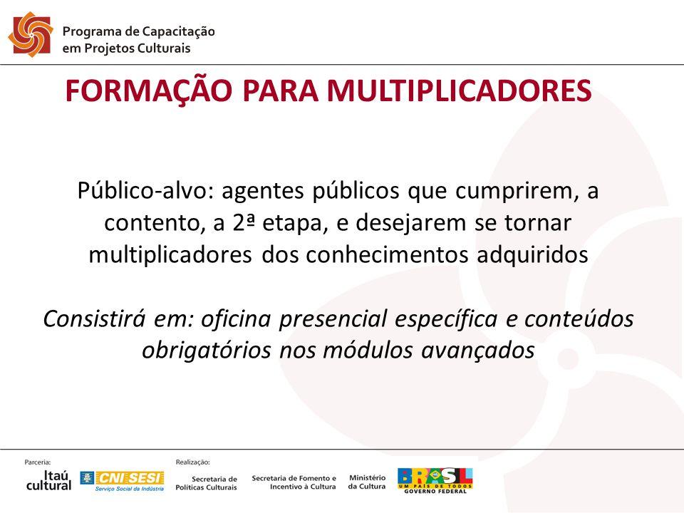 Público-alvo: agentes públicos que cumprirem, a contento, a 2ª etapa, e desejarem se tornar multiplicadores dos conhecimentos adquiridos Consistirá em