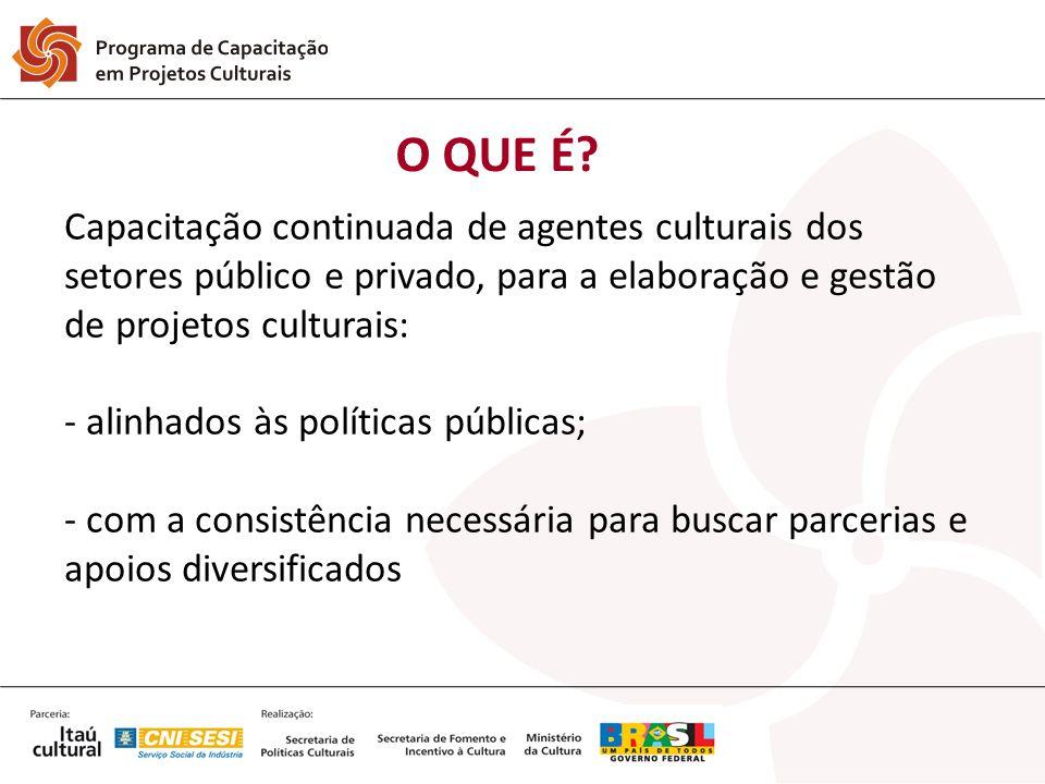 O QUE É? Capacitação continuada de agentes culturais dos setores público e privado, para a elaboração e gestão de projetos culturais: - alinhados às p