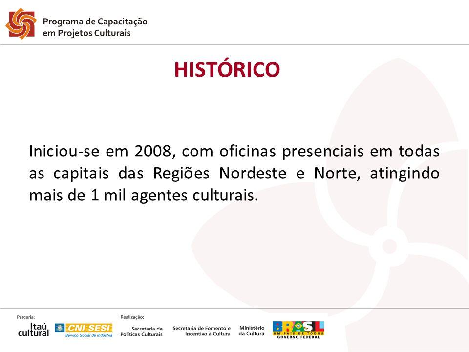 Iniciou-se em 2008, com oficinas presenciais em todas as capitais das Regiões Nordeste e Norte, atingindo mais de 1 mil agentes culturais. HISTÓRICO
