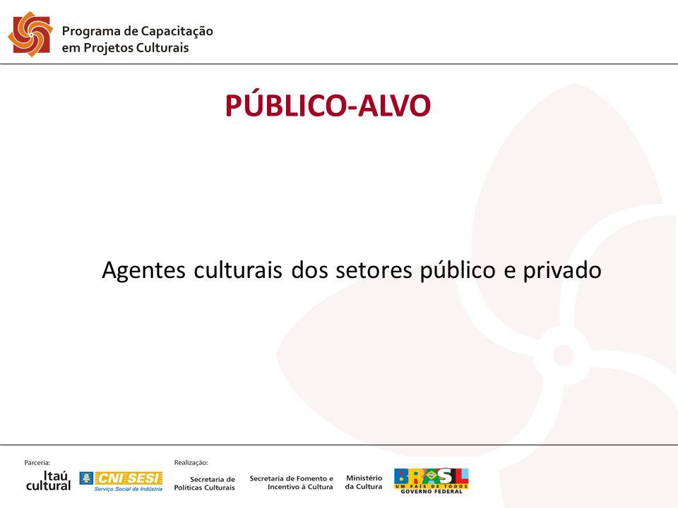PÚBLICO-ALVO Agentes culturais dos setores público e privado