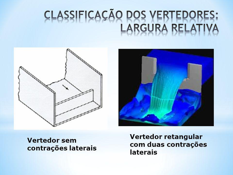Vertedor retangular com duas contrações laterais Vertedor sem contrações laterais