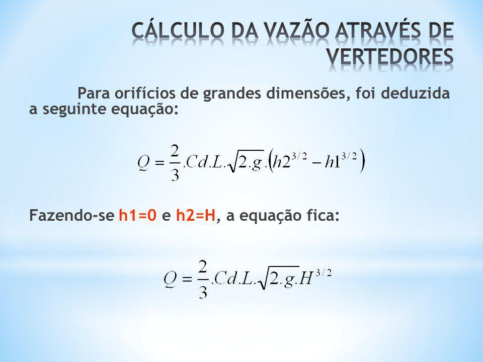 Para orifícios de grandes dimensões, foi deduzida a seguinte equação: Fazendo-se h1=0 e h2=H, a equação fica: