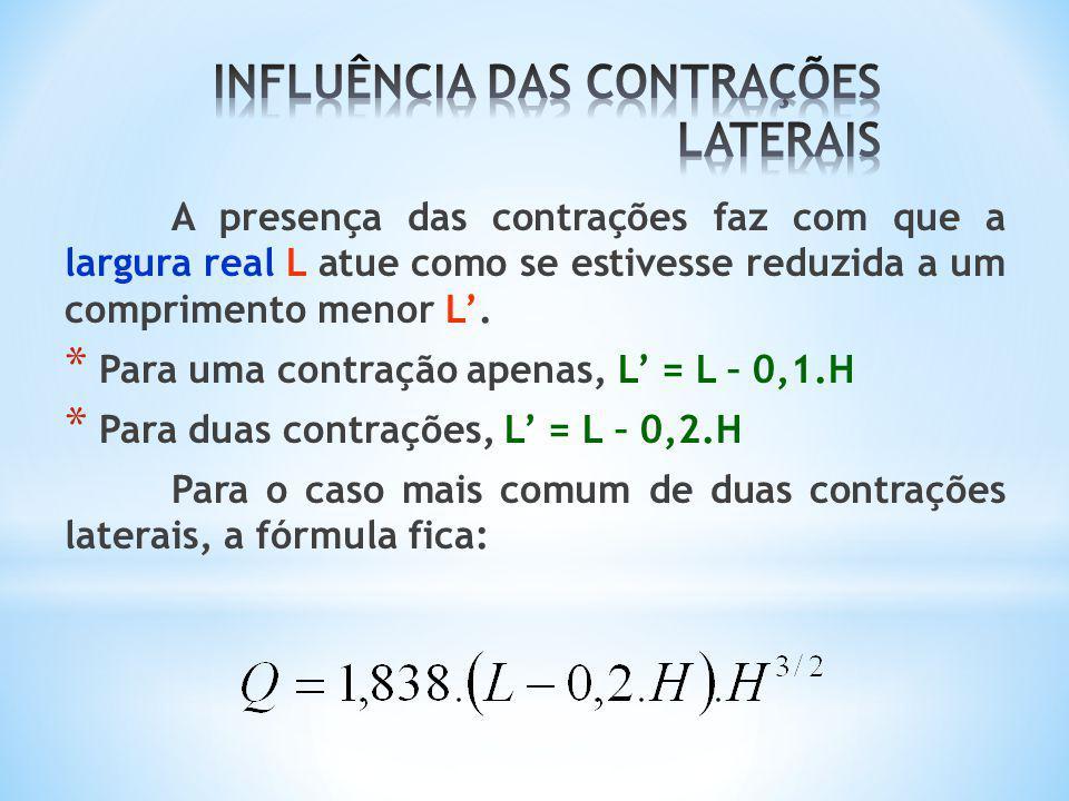 A presença das contrações faz com que a largura real L atue como se estivesse reduzida a um comprimento menor L. * Para uma contração apenas, L = L –