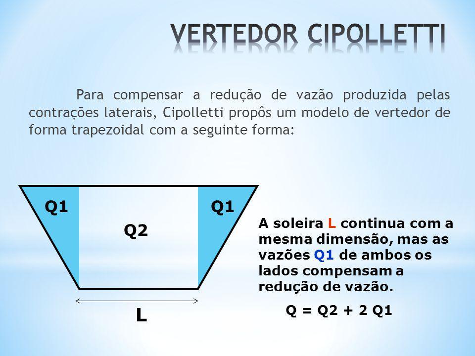 Para compensar a redução de vazão produzida pelas contrações laterais, Cipolletti propôs um modelo de vertedor de forma trapezoidal com a seguinte for