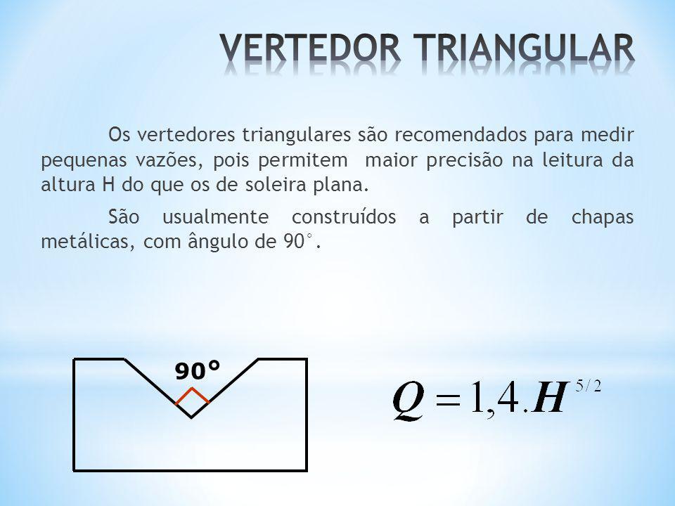 Os vertedores triangulares são recomendados para medir pequenas vazões, pois permitem maior precisão na leitura da altura H do que os de soleira plana