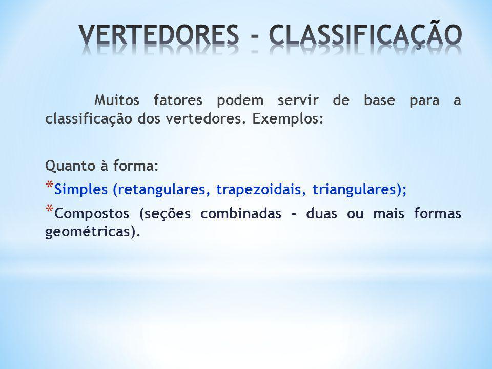 Muitos fatores podem servir de base para a classificação dos vertedores. Exemplos: Quanto à forma: * Simples (retangulares, trapezoidais, triangulares