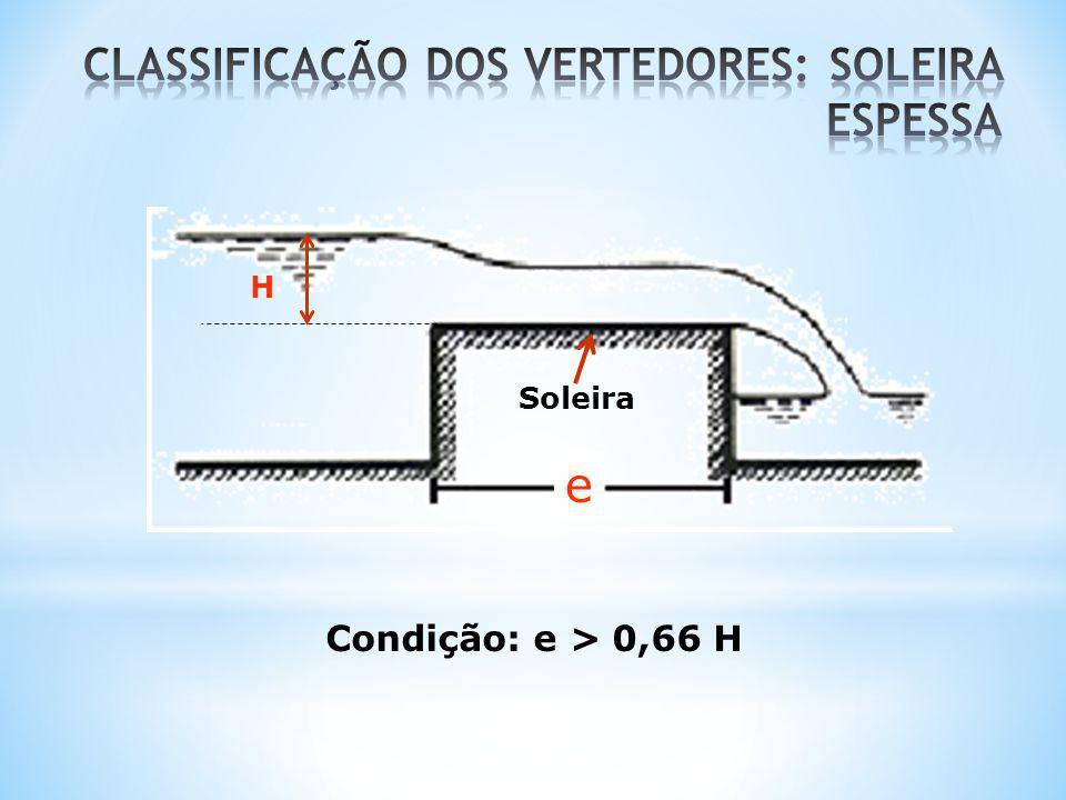 Quanto à largura relativa da soleira: * Vertedores sem contrações laterais; * Vertedores com uma contração lateral; * vertedores com duas contrações laterais.