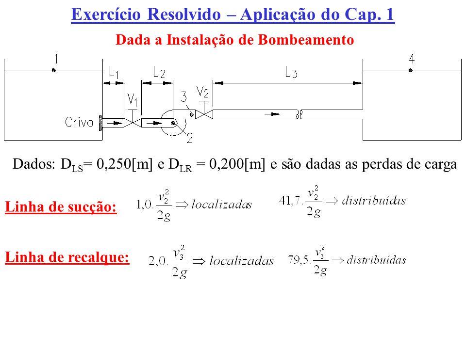 Exercício Resolvido – Aplicação do Cap. 1 Dada a Instalação de Bombeamento Dados: D LS = 0,250[m] e D LR = 0,200[m] e são dadas as perdas de carga Lin