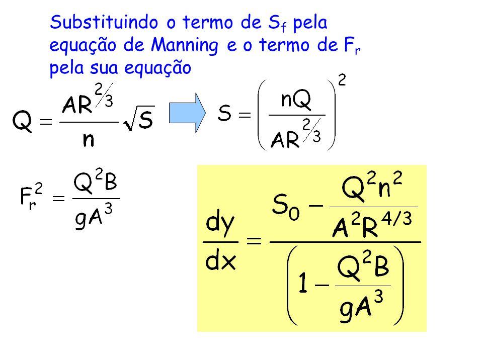 Substituindo o termo de S f pela equação de Manning e o termo de F r pela sua equação