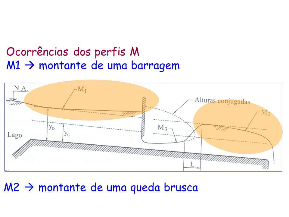 Ocorrências dos perfis M M1 montante de uma barragem M2 montante de uma queda brusca
