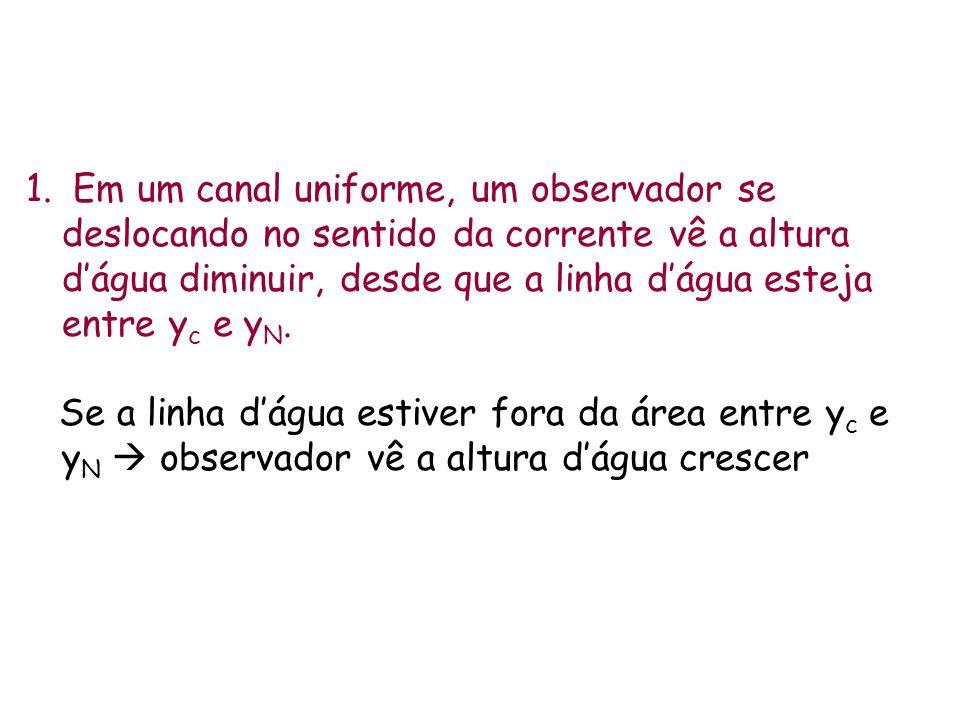 1. Em um canal uniforme, um observador se deslocando no sentido da corrente vê a altura dágua diminuir, desde que a linha dágua esteja entre y c e y N