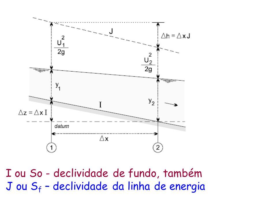 I ou So - declividade de fundo, também J ou S f – declividade da linha de energia