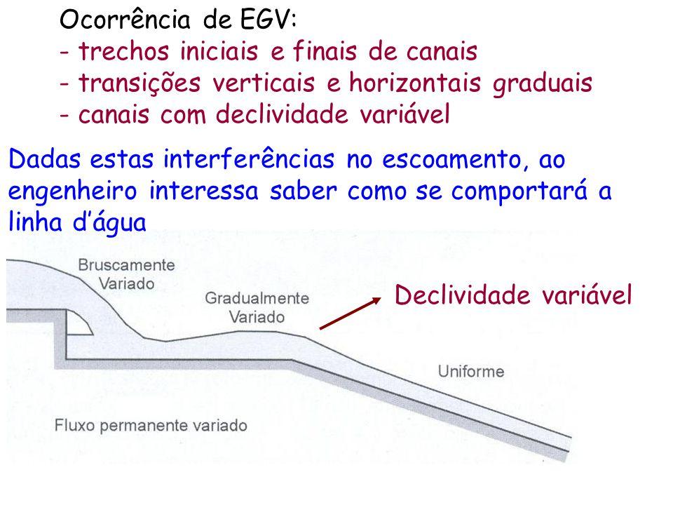 Ocorrência de EGV: - trechos iniciais e finais de canais - transições verticais e horizontais graduais - canais com declividade variável Declividade variável Dadas estas interferências no escoamento, ao engenheiro interessa saber como se comportará a linha dágua