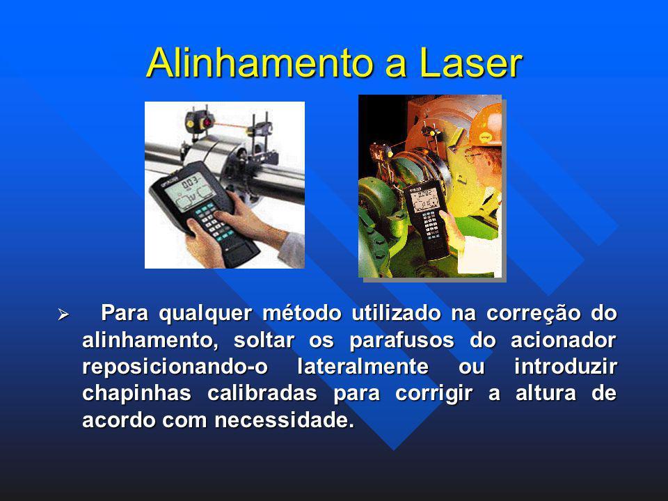 Alinhamento a Laser Para qualquer método utilizado na correção do alinhamento, soltar os parafusos do acionador reposicionando-o lateralmente ou intro