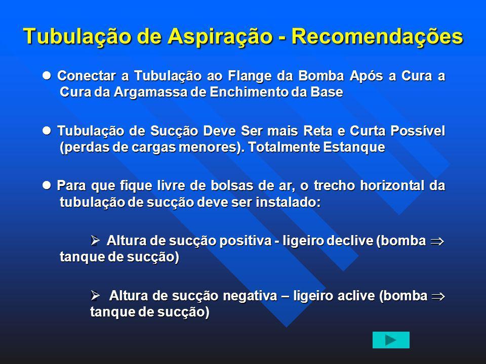 Tubulação de Aspiração - Recomendações Conectar a Tubulação ao Flange da Bomba Após a Cura a Cura da Argamassa de Enchimento da Base Conectar a Tubula