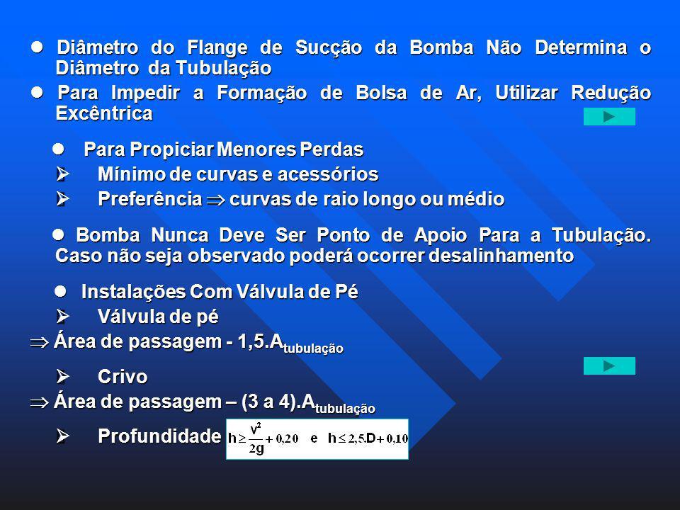 Diâmetro do Flange de Sucção da Bomba Não Determina o Diâmetro da Tubulação Diâmetro do Flange de Sucção da Bomba Não Determina o Diâmetro da Tubulaçã