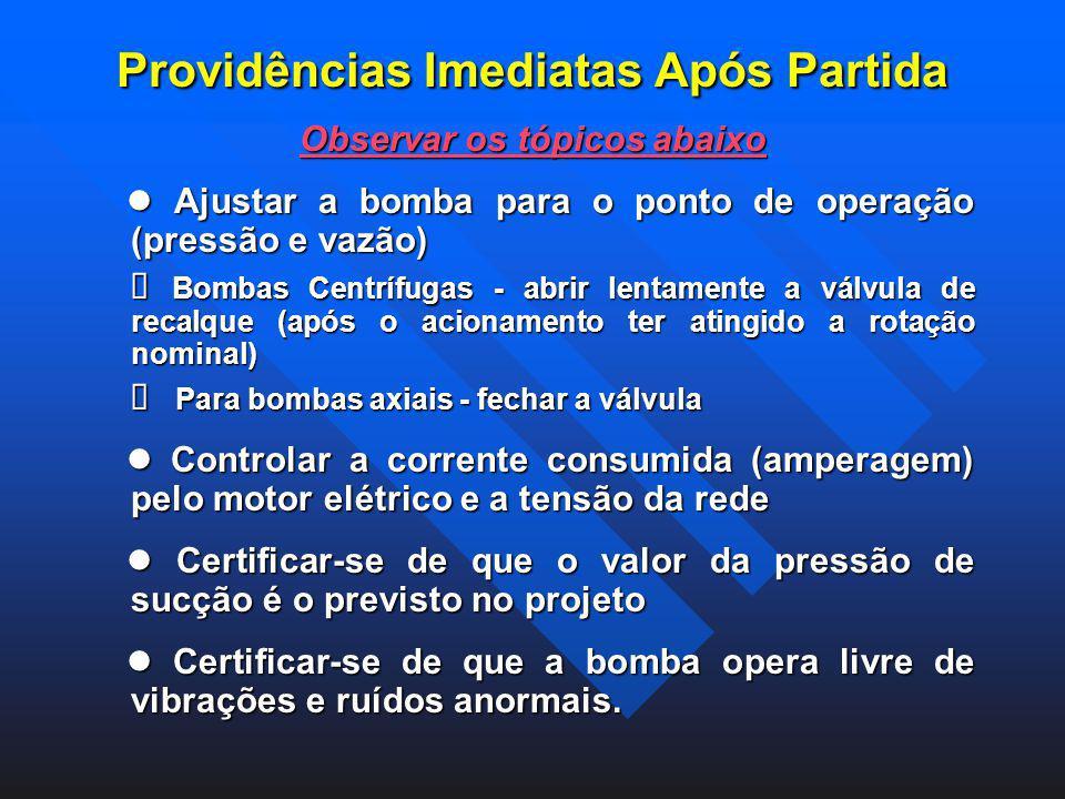 Providências Imediatas Após Partida Observar os tópicos abaixo Ajustar a bomba para o ponto de operação (pressão e vazão) Ajustar a bomba para o ponto