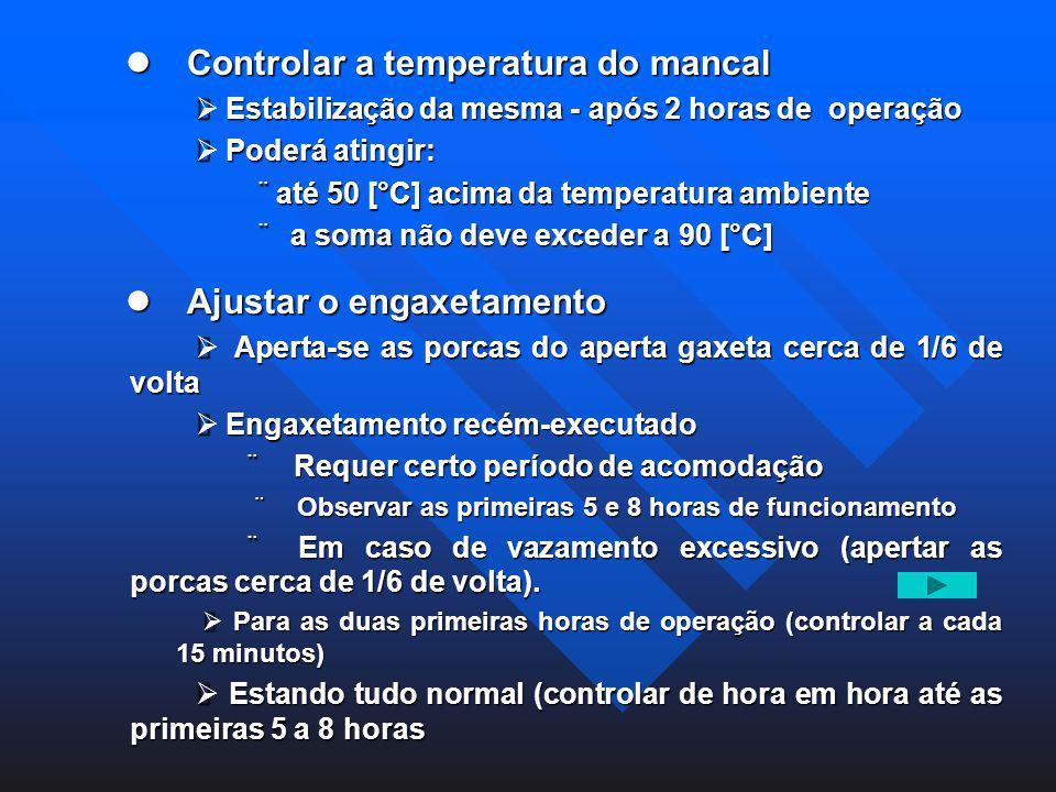 Controlar a temperatura do mancal Controlar a temperatura do mancal Estabilização da mesma - após 2 horas de operação Estabilização da mesma - após 2