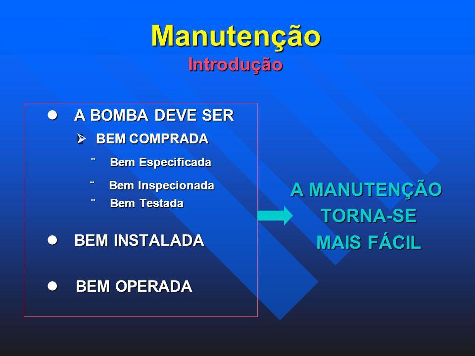 Manutenção Introdução Manutenção Introdução A BOMBA DEVE SER A BOMBA DEVE SER BEM COMPRADA BEM COMPRADA Bem Especificada Bem Especificada Bem Inspecio