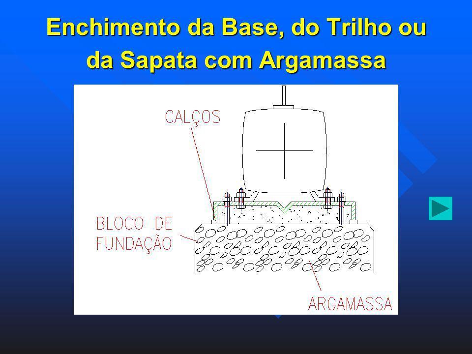 Enchimento da Base, do Trilho ou da Sapata com Argamassa