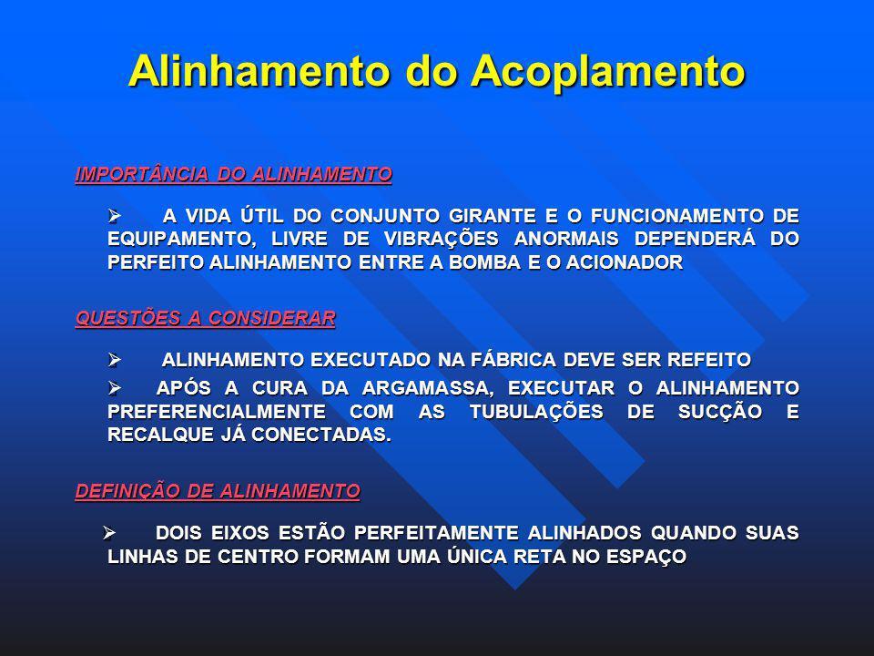 Alinhamento do Acoplamento IMPORTÂNCIA DO ALINHAMENTO A VIDA ÚTIL DO CONJUNTO GIRANTE E O FUNCIONAMENTO DE EQUIPAMENTO, LIVRE DE VIBRAÇÕES ANORMAIS DE
