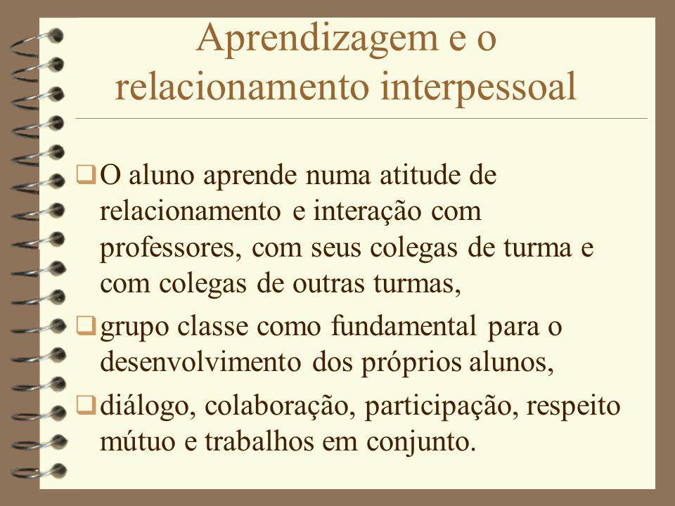 Aprendizagem e o relacionamento interpessoal O aluno aprende numa atitude de relacionamento e interação com professores, com seus colegas de turma e c